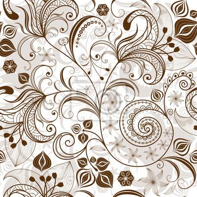 Wiederholte weiß-braun Blumenmuster