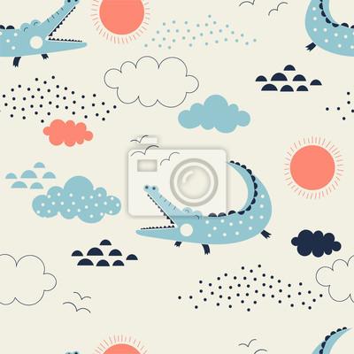 wild savannah with cute allegator pattern, safari seamless background, summer kids and nursery fabric textile print