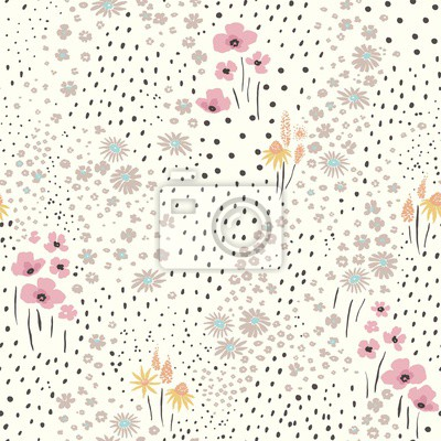 Wildflowers scattered on light background, seamless floral abstract pattern with flowers. Vector meadow hand drawn illustration in vintage style.