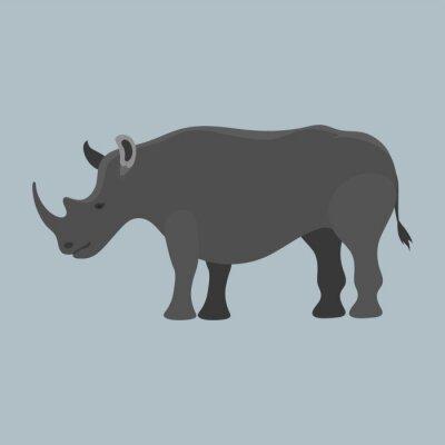 Wildlife Nashorn Säugetier isoliert Nashorn große wilde Afrika Tier gefährdete Arten Horn Zoo Charakter Vektor-Illustration