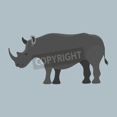 Wildlife rhinoceros mammal isolated rhino big wild africa animal endangered species horn zoo character vector illustration