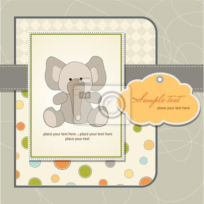 Willkommen Baby-Karte mit Elefanten