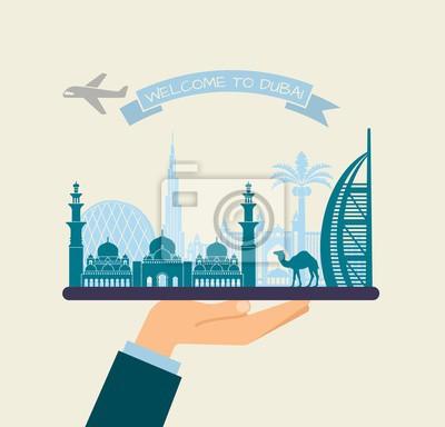 Willkommen in Dubai. Attraktionen von UAE auf einem Tablett