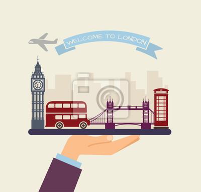 Willkommen in London. Attraktionen von London auf einem Tablett