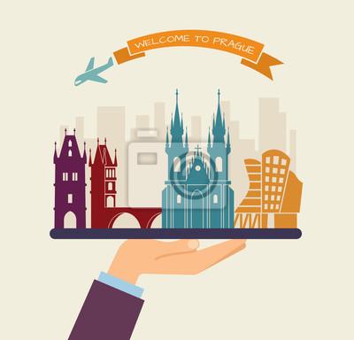 Willkommen in Prag. Attraktionen von Prag auf einem Tablett