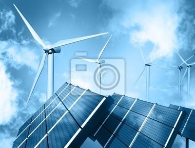Wind farm and solar panel