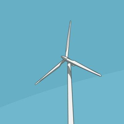 Wind Turbine Saubere Energie Illustration. Vektor.