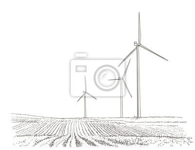 Windkraftanlagen Landschaft. Vektor.