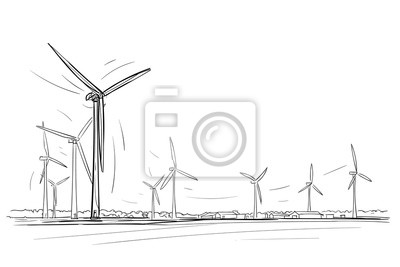 Windkraftanlagen Skyline Skizze. Vektor.