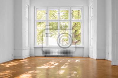 Sticker window in empty room, old apartment building with  parquet floor