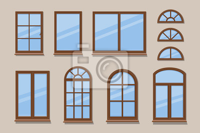 Sticker Windows brown various frames collection. Wooden window types in the wall