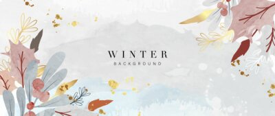 Sticker Winter background vector. Hand painted watercolor and gold brush texture, Flower and botanical leaves hand drawing. Abstract art design for wallpaper, wall arts, cover, wedding and  invite card.