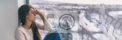Sticker Winter depression sad woman with Seasonal affective disorder girl grief stricken alone at home window thinking negative thoughts. Mental health banner panorama background.