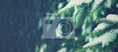 Sticker Winter Holiday Evergreen Christmas Tree Pine Branches Covered With Snow and Falling Snowflakes, Horizontal