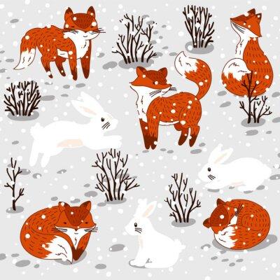 Sticker Winter-Illustration mit niedlichen Füchse und Hase.