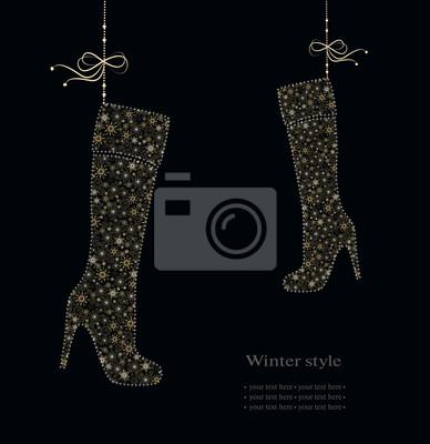 Winter-Mode Stiefel aus Schneeflocken.