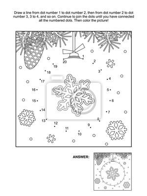 Winter, neujahr oder weihnachten themed verbinden die punkte ...