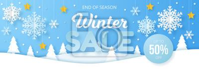 Sticker Winter sale banner. Origami snowfall. Vector Illustration.