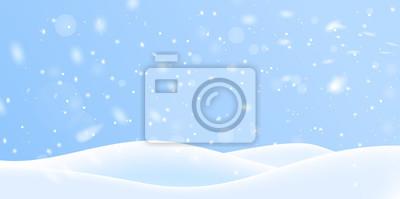 Sticker Winter snow background on blue backdrop. Magic white snowfall texture. Vector 3d illustration.
