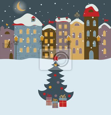 Winter town mit Weihnachtsbaum.