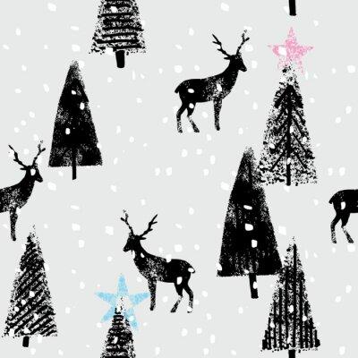 Sticker Winterwald Hand gezeichnet trendy Muster