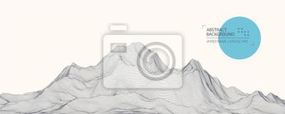 Sticker Wireframe landscape background. Futuristic vector illustration.