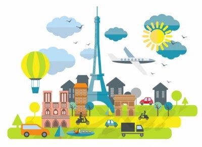 Sticker Wohnung, Design, Illustration mit Eiffelturm in Paris Stadt