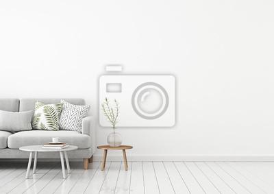 Sticker Wohnzimmer Innenwand mock up mit grauen Stoff Sofa und Kissen auf weißem Hintergrund mit freiem Platz auf der rechten Seite. 3D-Rendering
