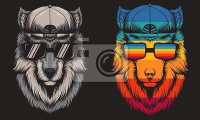 Sticker Wolf cool Retro vector illustration