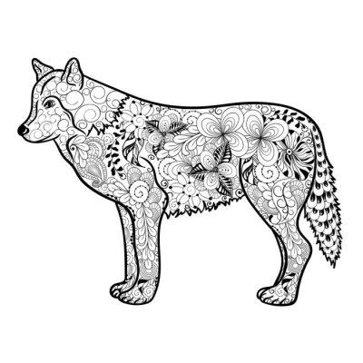 Sticker Wolf-Gekritzel