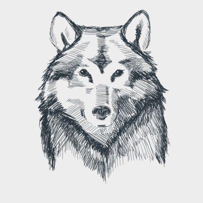 Sticker Wolf head grunge hand drawn sketch vector illustration