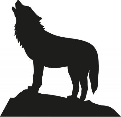 Sticker Wolf stehend und heulend