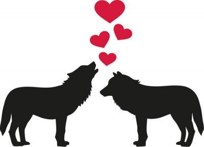 Sticker Wölfe in der Liebe