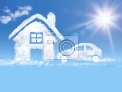 Wolke Haus und Auto in den blauen Himmel und strahlende Sonne