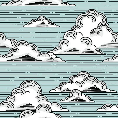 Sticker Wolken nahtlose Muster von Hand gezeichnete Illustration. Vector Hintergrund
