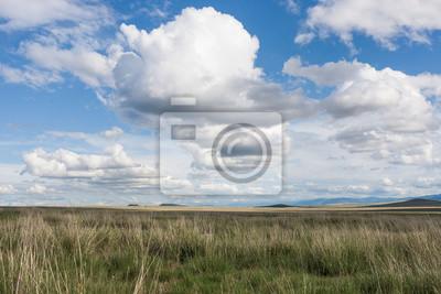Wolken über der Ebene in der Nähe der Mongolei. Tyva. Steppe. Sonniger Sommertag. Draußen