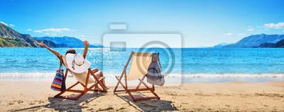 Sticker Woman Enjoying Sunbathing at Beach