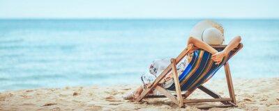 Sticker Woman on beach in summer