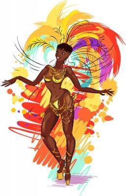 Sticker Woman samba dancer