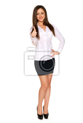 woman showing thumb up on white background