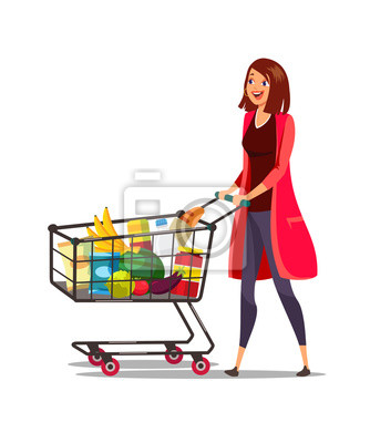 Woman with cart in supermarket vector illustration