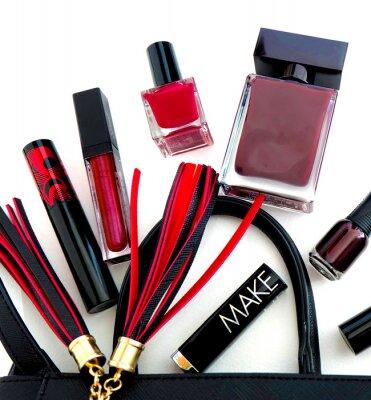 .Womens Tasche, Parfüm, Lippenstift, Lipgloss, Wimperntusche, Nagellack