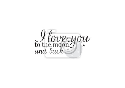 Wording Design, I love you to the moon and back, Wall Decals,Wall Design, Art Decor. Wording Design illustration isolated on white background
