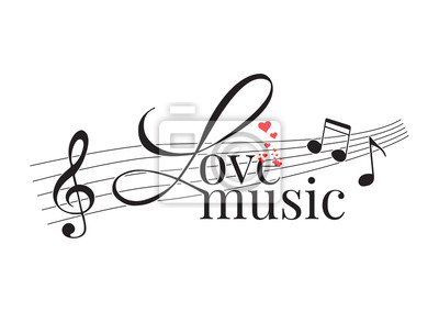 Wording Design, Love Music, Wall Decals, Art Decor, Wall Design illustration isolated on white background