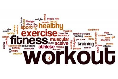 Sticker Workout Wort Wolke Konzept