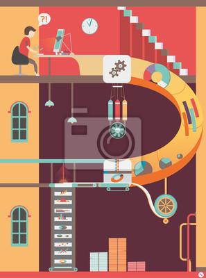 Workplace. Arbeit des Designers. Infografik.