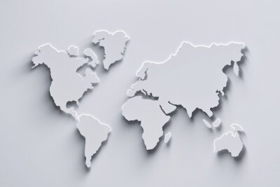 Sticker World map 3d in white colors with shadows and glowing edges. 3d illustration.