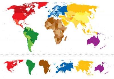 Sticker World map continents multicolored
