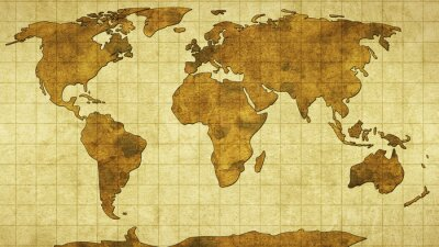 Sticker world map on old paper