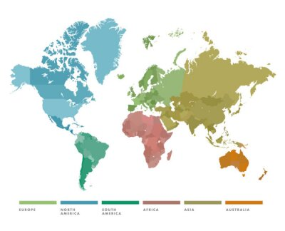 Sticker World map with continent in different color